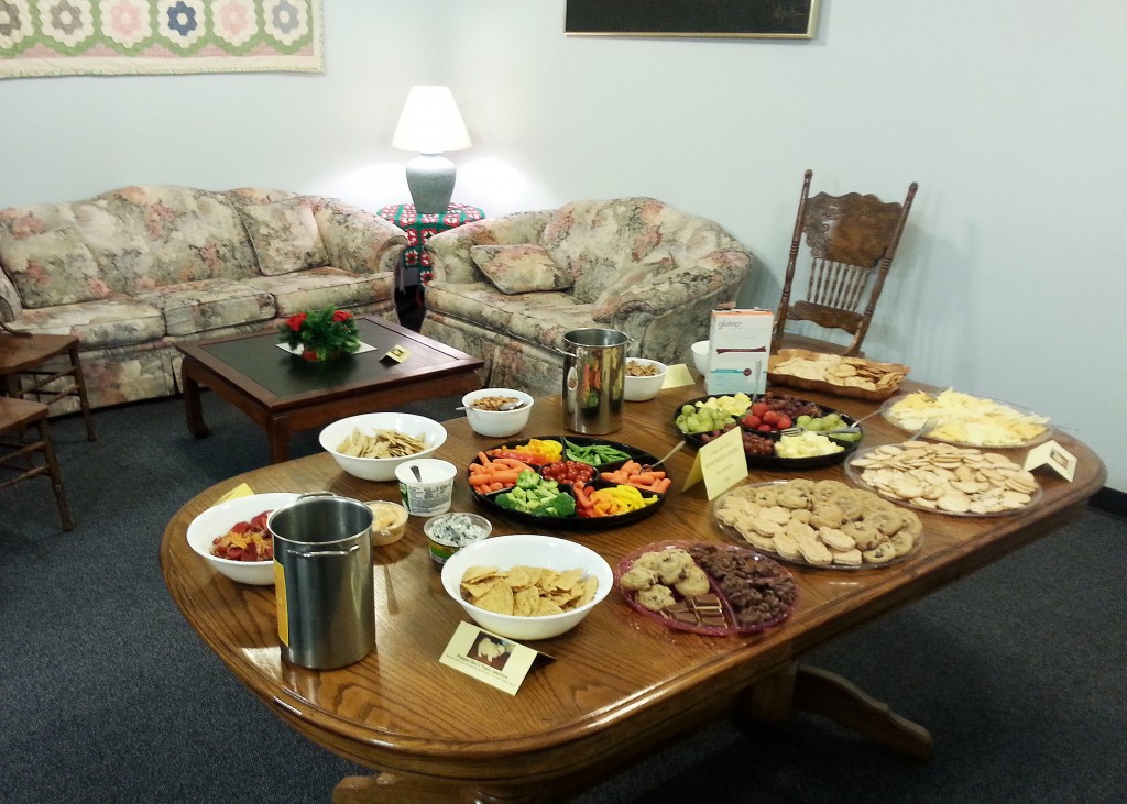 The array of snacks and comfy seats in our library!